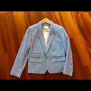The Loft cotton blue and white striped blazer