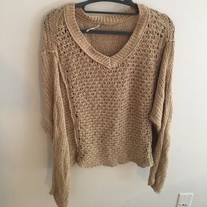 Free People Beige V-Neck Sweater