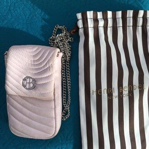 Pink leather Henri Bendel mini purse/phone case