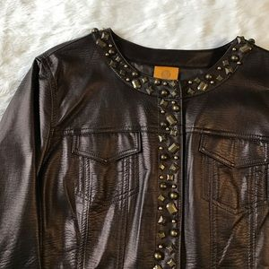 Metallic Brown Faux Leather Embellished Jacket