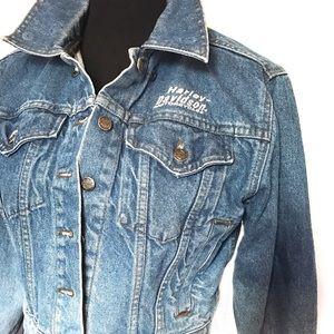 Vintage Jackets & Blazers - Vintage Hombre Harley's Levi/Denim Jean Jacket