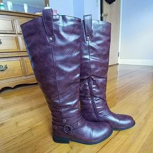 Journee Collection Shoes - Knee-high Burgundgy Riding Boots