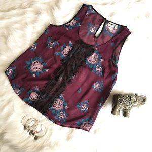 Tops - ✨Plum Floral Sleeveless Blouse! ✨