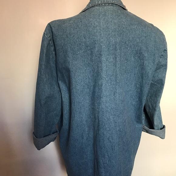 Vintage Jackets & Coats - Vintage Denim Studded Rhinestone Jean Blazer