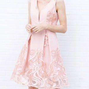 Dresses & Skirts - EMBROIDERED V-NECK DRESS - Blush