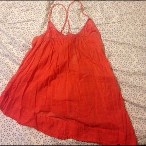 Free people coral pink embroidered tank xs