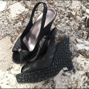 Banana Republic Shoes - Banana Republic Black Leather Wedges