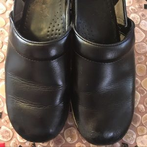 Dansko Professional Black Leather Clogs