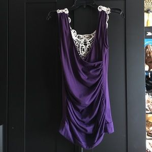 Draped Purple Top with Woven Back