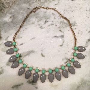J. Crew grey and green costume jewelry necklace