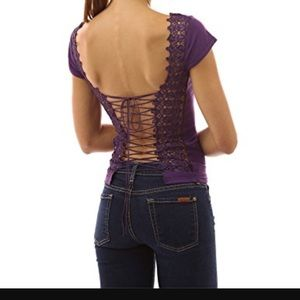PattyBoutik Tops - Corset Embroidered Lace Up Back Top