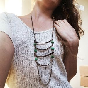Jewelry - Tribal Rib & Turquoise Bob Necklace