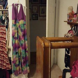 Halter top long flowing dress