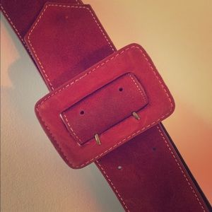 Retro Red Suede Belt