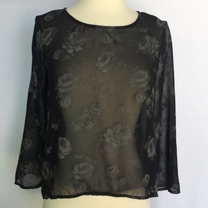 Zara black rose sheer high-low top