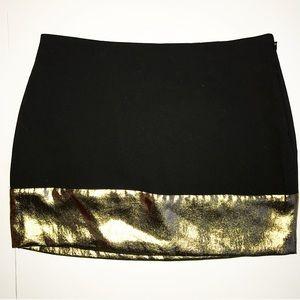 Express Dresses & Skirts - Express Black Mini Skirt with Gold Metallic Accent