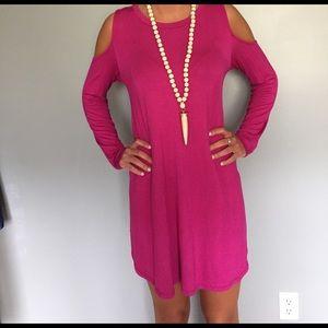 Fuscia color open shoulder dress