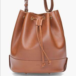 APC Handbags - APC Brown Pebbled Leather Bucket Bag