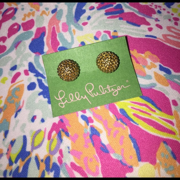 Lilly Pulitzer Jewelry - Lilly Pulitzer gold stud earrings