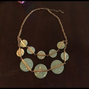 Gold and teal statement necklace