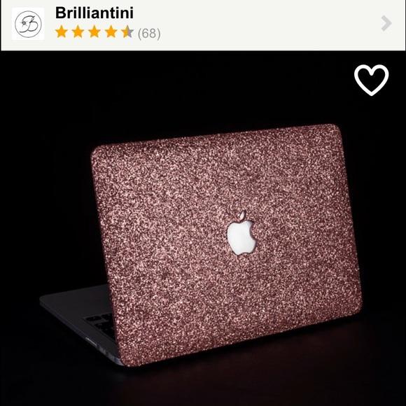 best website bf61e 8e393 Handmade rose gold glitter MacBook case