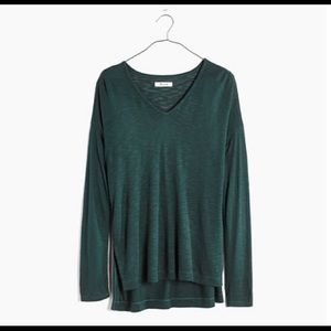 Madewell Long Sleeve V Neck Green Anthem Tee