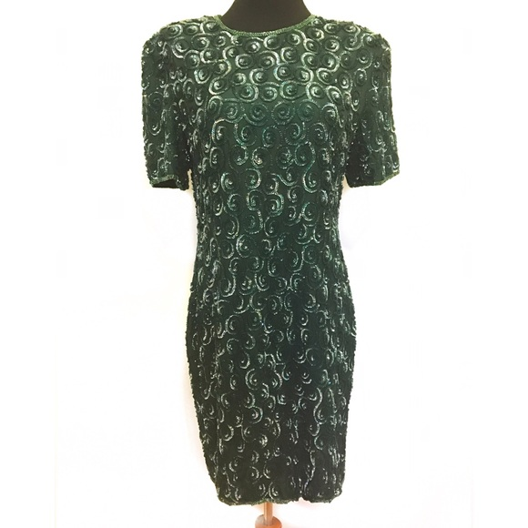 Vintage Dresses - Vintage 100% silk and sequins dress