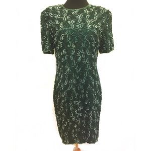 Vintage 100% silk and sequins dress