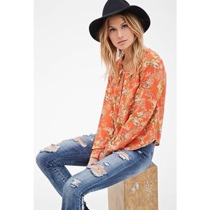 NEW Botanical Bird Print Boho Pleated Blouse
