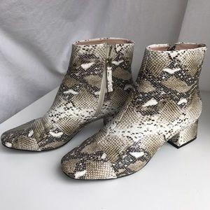 Snake-skin print booties by Zara