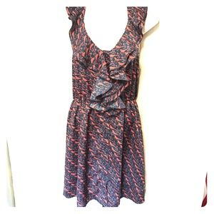 Bird print ruffle dress