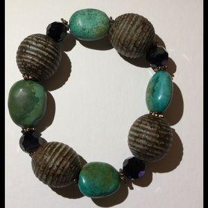 Jewelry - *sold* Turquoise tone beaded bracelet
