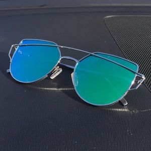 Accessories - Silver Cat Eye Aviator Sunglasses