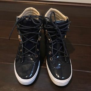 Shoes - High ankle 3inch cute wedge sneakers size 8.5