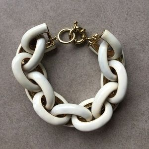 White and gold enamel bracelet
