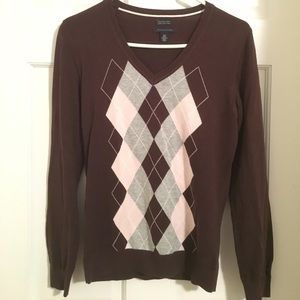 Tommy Hilfiger Sweaters - Brown & Pink Argyle Sweater