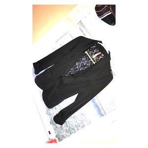 Lace detail blazer black
