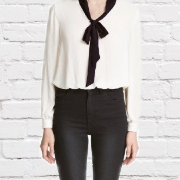 H M Tops Hm Solid White Blouse With Contrasting Black Bow Poshmark
