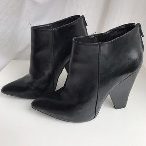 Chunky leather booties with back zippers