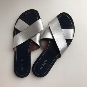 J. Crew Silver cross strapped sandals