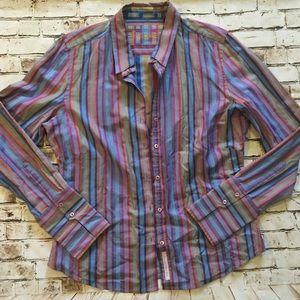 Robert Graham Tops - Robert graham Sz 12 stripe button up blouse