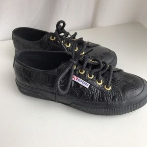 Black Croc Superga Sneakers
