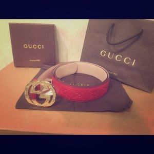 Gucci Other - New Red Gucci signature supreme leather belt!!!