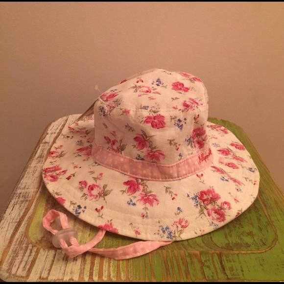 NWT girls sun hat reversible floral polka dot c3f2de1ebaf8