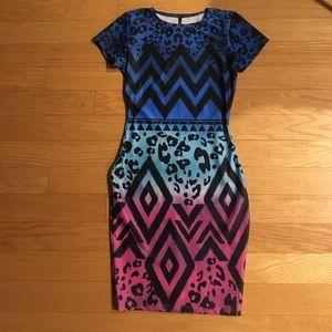 Geometric Animal Print Dress