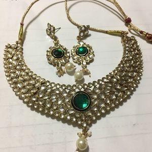 Kundan set ne lace and earrings