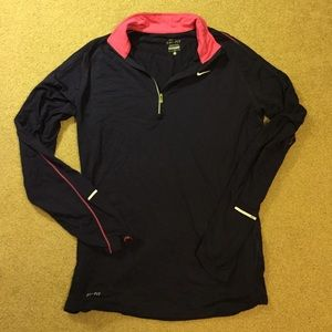 Nike pink and purple dri fit 1/4 1/2 zip pullover