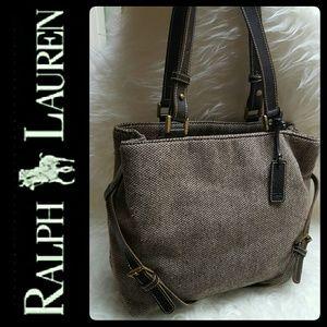 Ralph Lauren Handbags - Ralph Lauren Leather Trim Wool Bag