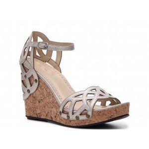 Adrienne Vittadini  Shoes - Adrienne Vittadini Chavi Silver Cork Wedges