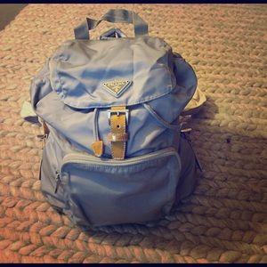 Prada gray nylon backpack